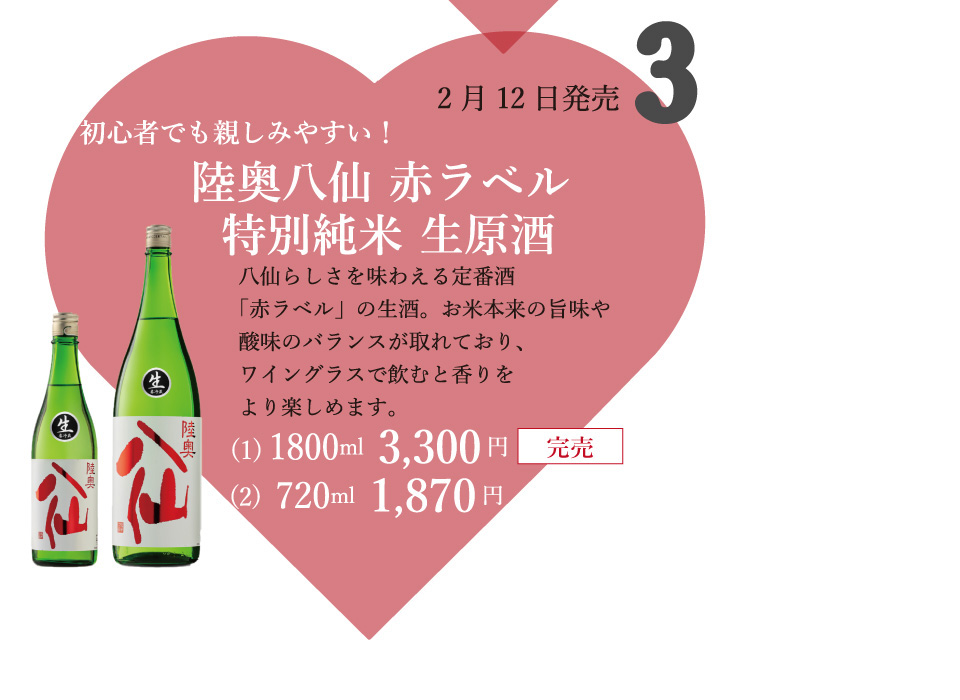 ③陸奥八仙 赤ラベル 特別純米 生原酒